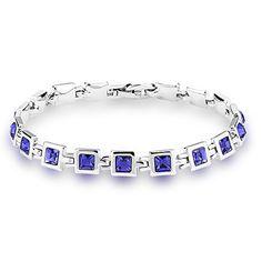 Valentine's Day Gift- Mondaynoon Swarovski Element Squre Crystal Tennis Bracelets For Women (Sky) (Purple)by Mondaynoon