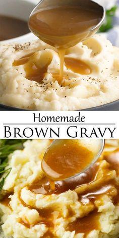 Brown Gravy Recipe Easy, Homemade Brown Gravy, Thanksgiving Gravy Recipe Easy, Brown Sauce Recipe For Steak, Quick Gravy Recipe, Perfect Gravy Recipe, White Gravy Recipe, Homemade Gravy Recipe, Brown Recipe