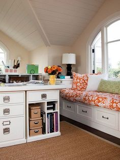 Great bench/window seat! -- 50 Amazing and Practical Craft Room Design Ideas and Inspirations  Family Holiday