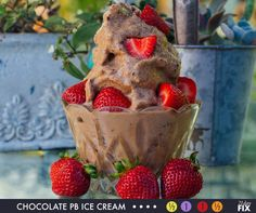 Chocolate PB Ice Cream that's 21 Day Fix Approved!   2 Servings Ingredients: 1 medium banana, cut into chunks ½ cup unsweetened almond milk 2 scoops Chocolate Shakeology 2 Tbsp. all-natural smooth peanut butter  1. Place banana in plastic bag; freeze for 4 hours, or until completely frozen. 2. Place almond milk, bananas, Shakeology, and peanut butter in blender (or food processor); cover. Blend until smooth. 3. Serve immediately.  Fix Portions:  ½ Yellow 1 Purple 1 Red ½ Orange