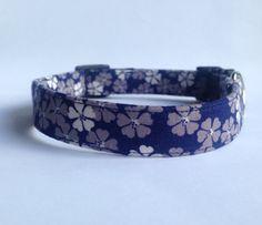 Navy Floral Print Dog Collar Handmade