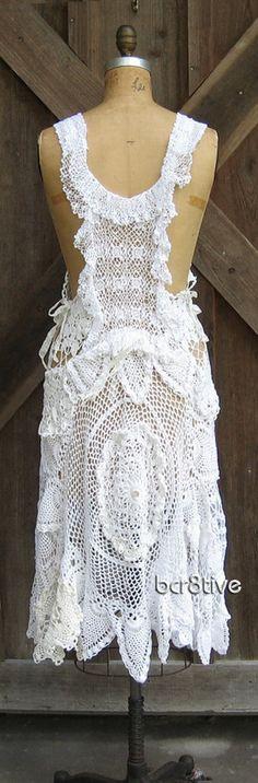 Pinafore jumper vintage crochet lace doilies -