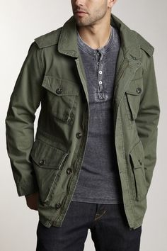 Olive Green Field Jacket, Black Tee and Jeans, and Taupe Desert ...