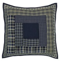 "Our Columbus Quilted Pillow 16"" Filled coordinates with our Columbus quilted bedding collection or you can use it separately on a couch or chair in your living room. https://www.primitivestarquiltshop.com/search?type=product&q=columbus+quilted+pillow #primitivecountrybedroomsbeddingandaccessories"