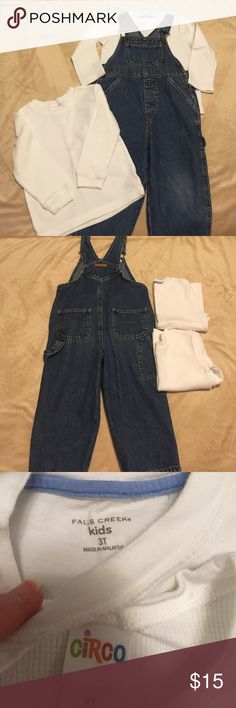 3T Bib overalls & 2 pure white shirts Great set. In perfect condition. Used for one photo session only! Circo, Faded Glory, Falls Creek Matching Sets