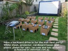 """Backyard drive-in movie party. The kids decorated their """"cars"""" with stickers and markers before the movie. We used to have backyard """"drive-in movies"""". It was so much fun! Movie Night Party, Party Time, Party Fun, Perfect Party, Fiesta Party, Party Party, Summer Birthday, Birthday Parties, Birthday Ideas"""