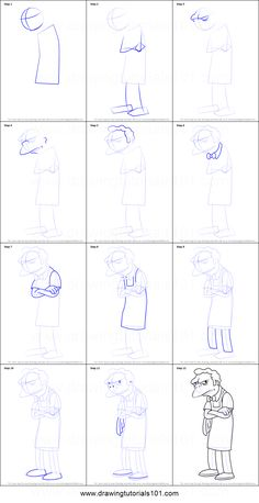 How to Draw Moe Szyslak from The Simpsons printable step by step drawing sheet : DrawingTutorials101.com