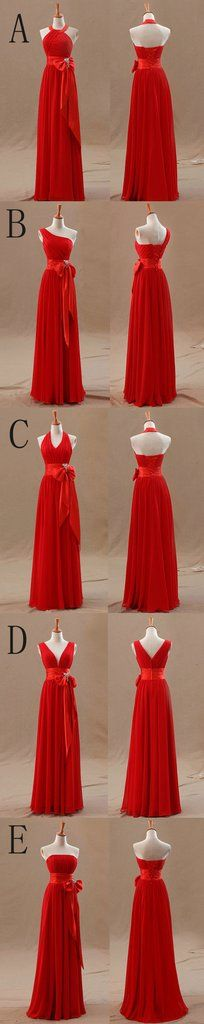 Mismatched Junior Chiffon Red Long A Line Formal Cheap Maxi Bridesmaid Dresses with Bow, WG63 The long bridesmaid dresses are fully lined, 4 bones in the bodice, chest pad in the bust, lace up back or