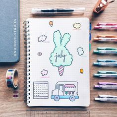 I loved collecting spreads for this amazing theme! Ice Cream Bullet Journal ideas to make you long for summer or ice creams! Bullet Journal Student, Bullet Journal 2019, Bullet Journal Notebook, Bullet Journal Spread, Bullet Journal Layout, Bullet Journal Inspiration, A5 Notebook, Journal Themes, Journal Ideas