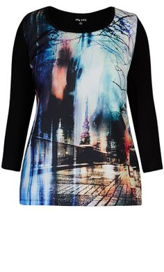 City Chic - MIDNIGHT RAIN GRAFITTI TOP - Women's Plus Size Fashion  - Women's plus size fashion #citychic #citychiconline #newarrivals #plussize