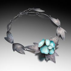 """""""ANEMONE NECKLACE"""" Vitreous enamel, copper, sterling silver Photo by Victor Wolansky Photography"""