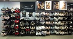 Primark - secret possessions lingerie collection on 4 wall modules, 3 or 4 vertical displays, 5 levels of display per module; Lingerie Store Design, Fashion Store Design, Designer Lingerie, Modern Dinning Room Ideas, Visual Merchandising Displays, Store Layout, Beauty Supply Store, Bra Shop, Lingerie Collection