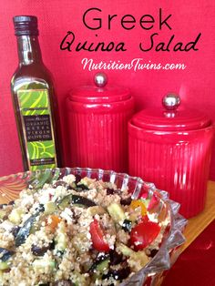 Greek Quinoa Salad | Only 134 Calories | Savory Mediterranean Flavors | Satiating | or Nutrition & Fitness Tips, and RECIPES please SIGN UP for our FREE NEWSLETTER www.NutritionTwins.com