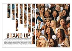 I think that this page has a great design-very tidy. The transparent letters and line art is very eye-catching, yet simple. Spread idea for a possible future pep rally. Yearbook Mods, Yearbook Staff, Yearbook Pages, Yearbook Spreads, Yearbook Covers, High School Yearbook, Yearbook Theme, Yearbook Design Layout, Newspaper Design Layout