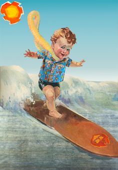 Image: Illustration of a child surfing wearing a western shirt