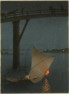 "graceandcompany: "" ♥LIKE Fishing Boat - Night Scene Series: Yoshimune Arai "" Hokusai, Art Asiatique, Japanese Illustration, Japanese Painting, Japanese Prints, Japan Art, Nocturne, Woodblock Print, Chinese Art"