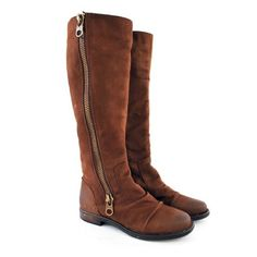 Distressed ridding boots They are very soft and comfortable. Have an industrial look with the thick zipper and the distressed leather. The are wide in the calf. Chocolate brown. Have normal wear but still have a lot of use. Still have original box Steve Madden Shoes Combat & Moto Boots