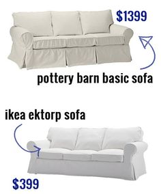 Ikea ektorp sofa versus pottery barn basic sofa. Buy a cheap white with easily replaceable slip covers. Wash & bleach once every 2-3 months.