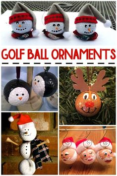 Christmas Golf Ball Ornament Ideas - never thought making crafts with golf balls! Awesome ideas for Christmas!