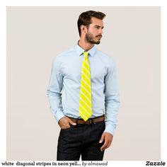 white  diagonal stripes in neon yellow neck tie