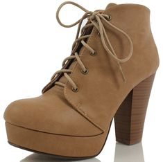 7b8320689 Women s Agenda Ankle Lace Up Platform Chunky Heel Ankle Bootie- Camel- 8 M  US - Camel - C311AABJA2H
