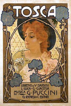 Tosca Opera Advertisement by Alphonse Mucha Fine Art Print Alphonse Mucha, Illustration Art Nouveau, Art Nouveau Poster, Vintage Italian Posters, Vintage Art, Poster Retro, Jugendstil Design, Kunst Poster, Inspiration Art