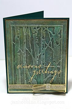 Used Distress Paints: Ground Espresso, Lucky Clover, Antique Bronze & Picket Fence. Painted Christmas Card using TH thinlet die 'birch tree'