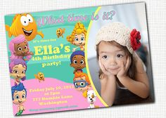 OMG This is Leah's 3rd bday theme! FINALLY!!! Bubble Guppies  PHOTO invitation  Printable by PaperTinker on Etsy, $10.00