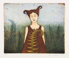 Kirsi Neuvonen, Saniaistyttö / Fern Girl (2007) Illustration Art, Illustrations, Picture Tattoos, Contemporary Artists, Art Images, Printmaking, Paper Art, Fine Art, Art Prints
