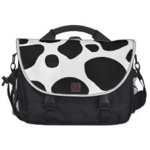BLACK AND WHITE COW SPOTS PATTERN LAPTOP MESSENGER BAG #animal print fashions #animal print women's fashions #cow print fashion