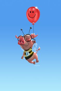 A flying pig in a bee costume - from a sketch done a couple of years ago, (and before I had even heard of 'UP'!) based on a personal joke betw. Funny Pigs, Cute Pigs, This Little Piggy, Little Pigs, Animals And Pets, Cute Animals, Funny Animals, Hump Day Humor, Pig Crafts