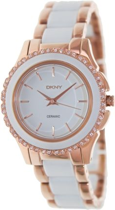 65a6ea6b3fc Dkny Women s NY8821 Two-Tone Ceramic Quartz Watch with White Dial Review  Buy Now