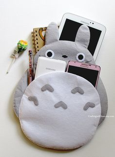 Totoro My Neighbour iPad Mini Case. Grey Clutch Bag Cosmetic Pouch iPhone Kindle Felt Case. Samsung Gadget Tab Note Sleeve. Bridal Gift. by CraftingWithLove.etsy.com