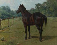 Bonheur Rosa A Bay Horse In a Paddock Canvas 16 x 20   # 7229 #Art #Sale