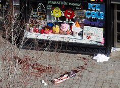Jessica Rinaldi / Reuters Blood in seen on the sidewalk in front of a candy store advertising a Marathon Monday sale a day after two explosions at the Boston Marathon in Boston, on April Boston Marathon 2013, Boston Marathon Bombing, Boston Strong, In Boston, Patriots Day, We Are Strong, September 11, Natural Disasters, Photojournalism