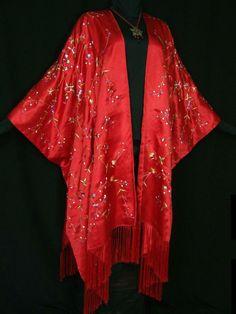 Peach Fringes Jacket Kimono Silk Burnout Velvet Flapper Style Maya Matazaro USA