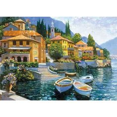 Howard Behrens 'Lake Como Landing' Canvas Art - Overstock™ Shopping - Top Rated Barewalls Interactive Art Canvas