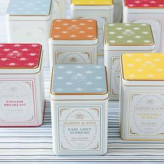 "Gourmet Tea Tins. Harney & Sons Paris is my favorite. It's character is ""A fruity black tea with a nint of lemony bergamot."""