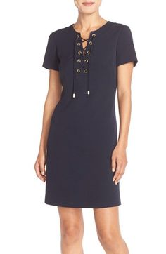 Eliza J Front Lace Shift Dress (Regular & Petite) available at #Nordstrom