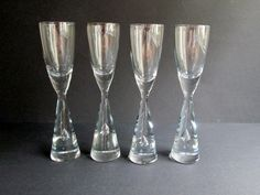 4 Princess iconic crystal schnapps, shot, cordial glasses,  designed 1957 by…