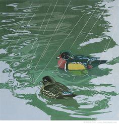 """Shower with a Friend"" linocut, 15"" x 15"", handprinted on Awagami kozo, © Sherrie York"