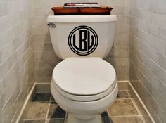 New Circle Monogram Vinyl Toilet Decal by designstudiosigns, $24.00