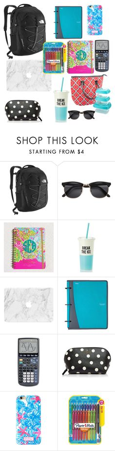 """""""back to school :(:"""" by briannandrake ❤ liked on Polyvore featuring The North Face, Kate Spade, Mead, Lilly Pulitzer, Paper Mate and Fit & Fresh"""