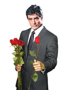 Alain Delon with roses
