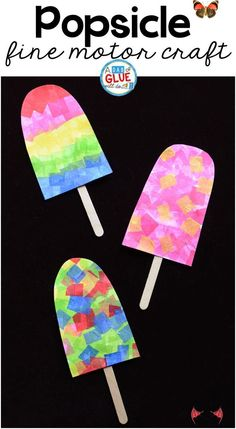 Colorful Popsicles Fine Motor Craft One of the first things my kids think about as soon as the weather warms up is popsicles! So we just couldn't help but make this fun, colorful popsicle fine motor craft. There is a lot of fine motor work involved in pulling, grasping, and sticking the brightly colored tissue paper squares onto the paper.<br> One of the first things my kids think about as soon as the weather warms up is popsicles! So we just couldn't help but make this fun, colorful… Summer Crafts For Kids, Art For Kids, Summer Crafts For Preschoolers, Preschool Summer Crafts, Arts And Crafts For Kids Toddlers, Art For Kindergarteners, Preschool Beach Crafts, Childrens Crafts Preschool, Summer Activities For Preschoolers