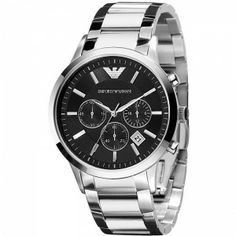 Emporio Armani Classic Chronograph Mens Watch Stainless steel case with a  black croco-embossed leather bracelet. Black dial with black hands and  silver eba6ff2f82