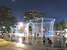 Columbus, OH- In the main plaza of the Scioto Mile, several fountains were installed that children enjoy themselves on a hot summer night. Summer Nights, Summer Fun, Stuff To Do, Things To Do, Columbus Zoo, Splash Park, Waterfall Fountain, New City, Marina Bay Sands
