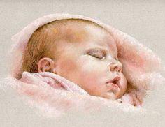 Baby pastel portrait drawing by Margaret Scanlan