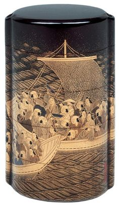 Inro (container for a seal), 5 Sections   Two Boats with Passengers   Signature: Shiomi Masanari (1647-1722)   Lacquered wood, gold, silver and coloured hiramaki-e   9 x 5.5 x 3.2 cm