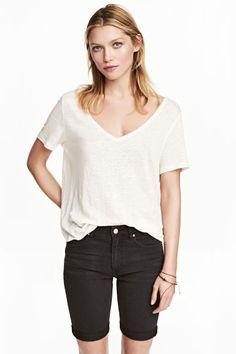 Льняная футболка - Белый меланж - Женщины | H&M RU 1